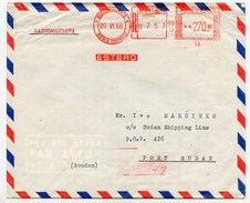 Italy Meter Stamp On Air Mail Registered Letter Cover Travelled 1966 To Sudan B171020 - 6. 1946-.. Republic