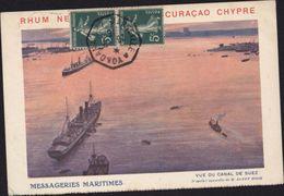 CPA Messageries Maritimes Vue Canal Suez Rhum Curaçao Chypre Aquarelle Sandy Hook YT 137 X2 CAD Marseille à Yokoama N7 - Cargos