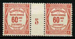 FRANCE -  YT T 48 ** - TAXE - PAIRE DE TIMBRES NEUFS ** AVEC MILLESIME - 1859-1955.. Ungebraucht