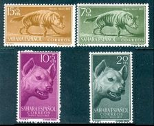 SPANISH SAHARA 1957 Colonial Stamp Day, Striped Hyena Set (4v), XF MLH, MiNr 173-6, SG 139-42 - Africa (Other)