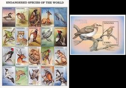 Tanzania 1999, Birds, Duck, Monkey, Whale, Leopard, Turtles, Rhino, Pinguins, 20val In BF +BF - Rhinozerosse