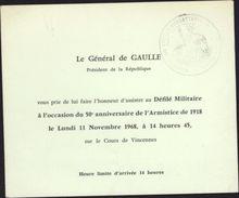 Invitation Général De Gaulle Défilé Militaire 11 Novembre 1968 50e Anniversaire Armistice 1918 Après Grève 68 - Faire-part