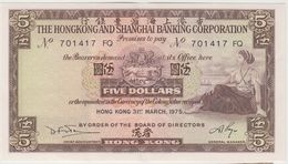 HONG KONG 5 Dollars 1975 P181 VF - Hong Kong