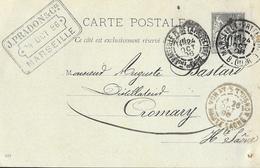 Carte Précurseur Pré-timbrée 1896, Dos Simple Non Illustrée - Tampon J. Pradon & Cie, Marseille - Cartes Postales