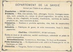 Département De La Savoie, Chef Lieu Chambéry - Produits, Drapeau, Célébrités... - Dos Vierge, Sans Illustration - Géographie