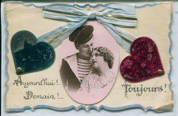13471 - LE MARIN ET SA PROMISE - AUJOURD'HUI  !!  DEMAIN !!  TOUJOURS !   2 Coeurs En Plastique .. - Autres