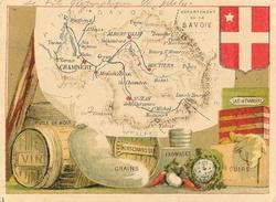 Chromo: Département De La Savoie (spécialités, Drapeau): Le Fil Géographique En Pelotes (Mercerie) - Cromo