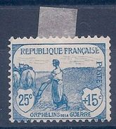 FRANCE - 151  ORPHELINS 25C + 15C BLEU NEUF* MLH COTE 90 EUR - France