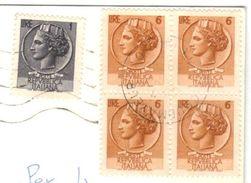 Quartina 6 Lire + 1 Lira Siracusana - Viaggiata In Tariffa 29.2.1970 Da Courmayeur A Firenze - 6. 1946-.. Republic