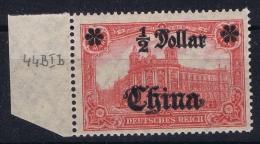 Deutsche Post China : Mi Nr 44 II B R Postfrisch/neuf Sans Charniere /MNH/**  Randstück  1906 - Offices: China
