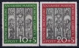 Bundespost: Mi Nr 139 - 140  Marienkirche-Luebeck MH/* Falz/ Charniere 1951 - Ungebraucht