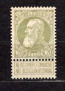 N°75, Neuf**, Cote 39€, Prix Fixe - 1869-1883 Leopold II