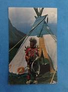CARTOLINA FORMATO PICCOLO VIAGGIATA INDIANO CANADIAN ROCKIES BANFF INDIAN DAY CHICKEN DANCER - Indiani Dell'America Del Nord