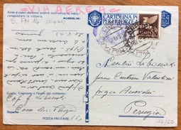 POSTA MILITARE N. 151 SU CPFFA +50 C. POSTA AEREA PER PERUGIA IN DATA 21/6/43 - 1900-44 Vittorio Emanuele III