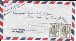 HONDURAS A BUENOS AIRES ENVELOPPE CIRCULEE AVEC MULTIPLE FRANKING FRANQUEO MULTIPLE REGISTERED MAIL CORREO CERTIFICADO - Honduras