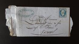 France - Lettre Enveloppe - Etoile 7 Sur 20c Bleu Napoléon III N°22- Année 1863 - 1849-1876: Classic Period
