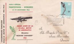 AIR MAIL FIRST FLIGHT. 50° ANIVERSARIO FUNDACION ESCUELA AERONAUTICA. VUELO ESPECIAL 1966 - URUGUAY  - BLEUP - Uruguay