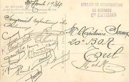 PIE 17-T-7986 : CACHET FRANCHISE MILITAIRE. ATELIER DE CONSTRUCTION DE BOURGES SUR CARTE POSTALE. DEPARTEMENT DU CHER - Marcofilia (sobres)