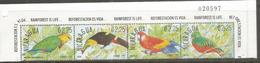 Perroquets Et Oiseaux Du Nicaragua.  4 Timbres Neufs ** En Bande, Bord De Feuille - Parrots