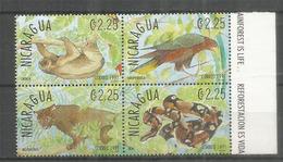 Jaguar, Boa,paresseux,etc. Faune Du Nicaragua.  4 Timbres Neufs ** En Bande, Bord De Feuille - Raubkatzen