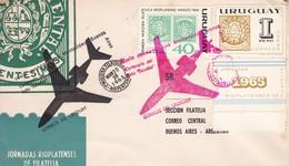 MUESTRA FILATELICA RIOPLATENSE. VUELO ONMEMORATIVO. 1965 - FDC - URUGUAY  - BLEUP - Uruguay