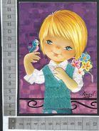 CARTE DOUBLE BRODEE / ILLUSTRATION ANGEL / ENFANT PETIT GARCON OISEAU SUR SA MAIN - Brodées