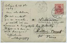 Carte Postale Autographe Signée De L'aéronaute Corse Louis Capazza, Au Mécanicien De Dirigeable Dilasser. Cologne 1909 . - Autographes