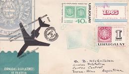 VUELO CONMEMORATIVO MONTEVIDEO-BUENOS AIRES CENTENARIO SELLO ESCUDITO 1965 FIRST FLIGTH AIRMAIL -URUGUAY - BLEUP - Uruguay