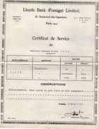 VP11.097 - LLOYDS Bank à PARIS - Certificat De Service - Bank & Insurance