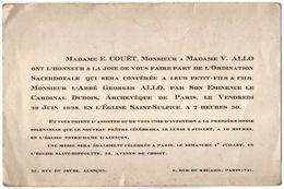 VP11.100 - 1928 -  ALENCON X PARIS - Faire - Part De L'Ordination Sacerdotale De Mr L'Abbé George ALLO - Faire-part