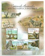 Zambia 2007 Animals Of Zambia - The Second SAPOA Joint Issue Minisheet 5 V. Mint ** - Zambia (1965-...)