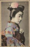Beautiful Japanese Geisha Woman Colorful Kimono C1910 Hand Colored PC - Volkeren & Culturen