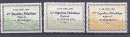 3 Vignettes Exposition Philatelique Grasse 1932 * - Commemorative Labels