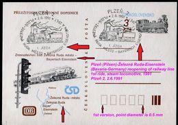 836-CZECHOSLOVAKIA Postcard Special Cancelation Plzeň-Ž. Ruda-Eisenstein Reopening Of Railway Line-1st Ride Steam 1991 - Eisenbahnen