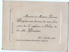 VP11.104 - BUZEINS 1918 - Faire - Part De Naissance De Melle Geneviève COUPIAC à ORLEANS - Nacimiento & Bautizo