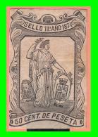 ESPAÑA  SELLO 11º  DE  0.50 Cs  DE PESETA    AÑO 1874 - 1873-74 Regencia