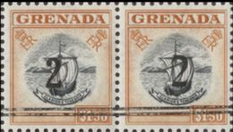 GRENADA 1965 Coat Of Arms Ship OVPT:2c PAIR - Grenada (...-1974)