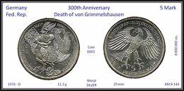 GERMANY Fed. Rep. - 5 DM 1976 D - KM # 144 - Silver Argent - Von Grimmelshausen - [ 7] 1949-… : RFA - Rép. Féd. D'Allemagne