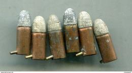 6 Cartouches 7 Mm Pour Revolver Lefaucheux à Broche - Decorative Weapons