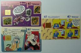 3 NORWAY - Telnor - Cartoons - 22 Units - NOR-65, 66 & 67 - Mint - Norway