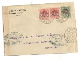 ENVELOPPE  1917 DE LARACHE JUDAH CASTIEL  A MARSEILLE PAQUET FRERES / ZONA DE PROTECTORADO ESPANOL EN MARRUECOS CPA1191 - Marocco Spagnolo