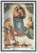 """910 S. Tomè E Principe 1989 """" Madonna Sistina """" Quadro Dipinto Da Raffaello Preobliterato Painting Tableau - Madonne"""