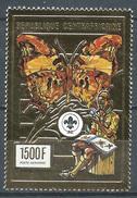 Centrafricaine Rép. Poste Aérienne YT N°403 Faune Et Scoutisme Papillons (timbre Or) Neuf ** - Centrafricaine (République)