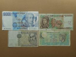 Italy 500,1000,5000,10000 Lire 1974-1984 (Lot Of 4 Banknotes) - Non Classificati