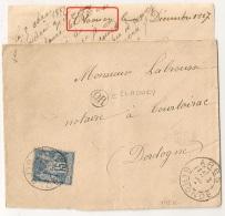 OR CLAOUEY + ARES Gironde Pour TOURTOIRAC Dordogne Sur Enveloppe SAGE. - 1876-1898 Sage (Type II)