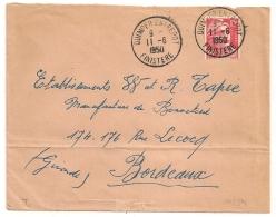 QUIMPER ENTREPOT Finistère Sur 15F GANDON. 1950. - Marcophilie (Lettres)