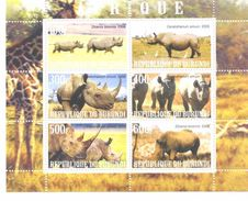Burundi  2009 Africa Rhinoceros  MS - Rhinozerosse