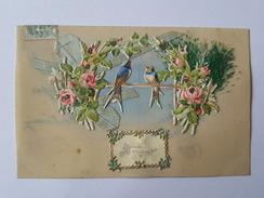 Un Baiser De Géraudot - Belle Carte En Celluloïd Avec Collage De Chromo - Oiseaux, Ruban - France