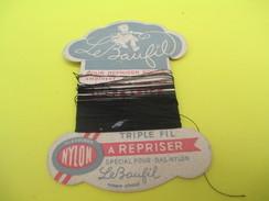 Mercerie/Carton Présentoir/Le Baufil/Nylon/Triplefil/à Repriser/St Patrick/Spécial Pour Bas Nylon /Vers1940-1960   MER55 - Habits & Linge D'époque