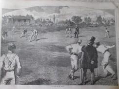 Gravure D Epoque 1857  Le Noble Jeu De Cricket  Sport Lord S Cricket Ground  Sport Anglettere - Sports